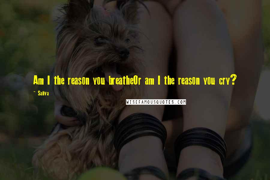 Saliva quotes: Am I the reason you breatheOr am I the reason you cry?