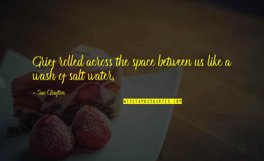 Salt Water Quotes By Sue Grafton: Grief rolled across the space between us like