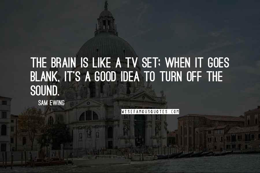 Sam Ewing quotes: The brain is like a TV set; when it goes blank, it's a good idea to turn off the sound.