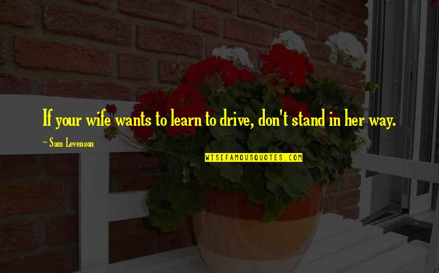 Sam Levenson Quotes By Sam Levenson: If your wife wants to learn to drive,