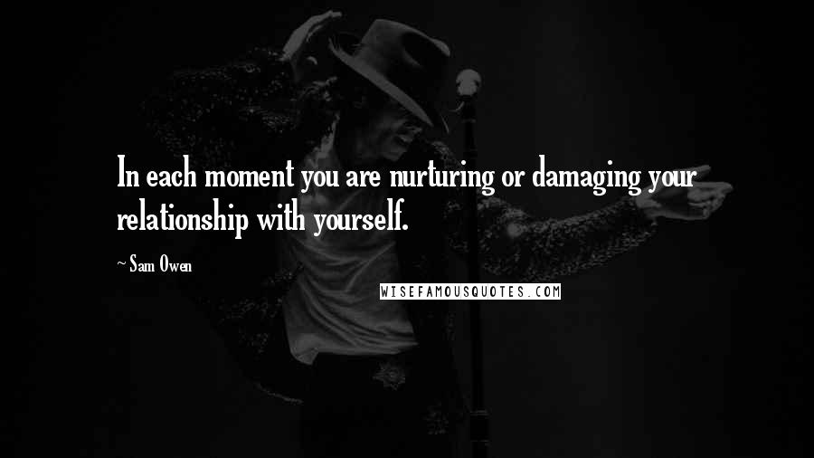 Sam Owen quotes: In each moment you are nurturing or damaging your relationship with yourself.