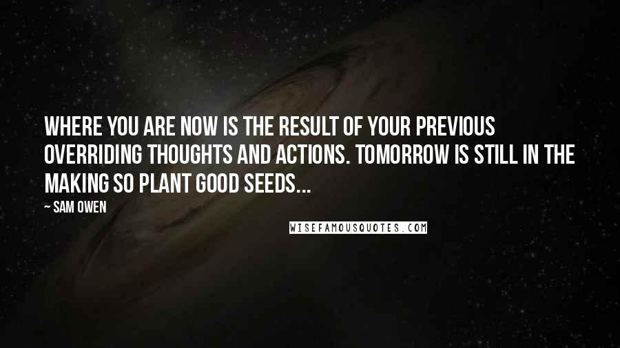 Sam Owen quotes: Where you are now is the result of your previous overriding thoughts and actions. Tomorrow is still in the making so plant good seeds...