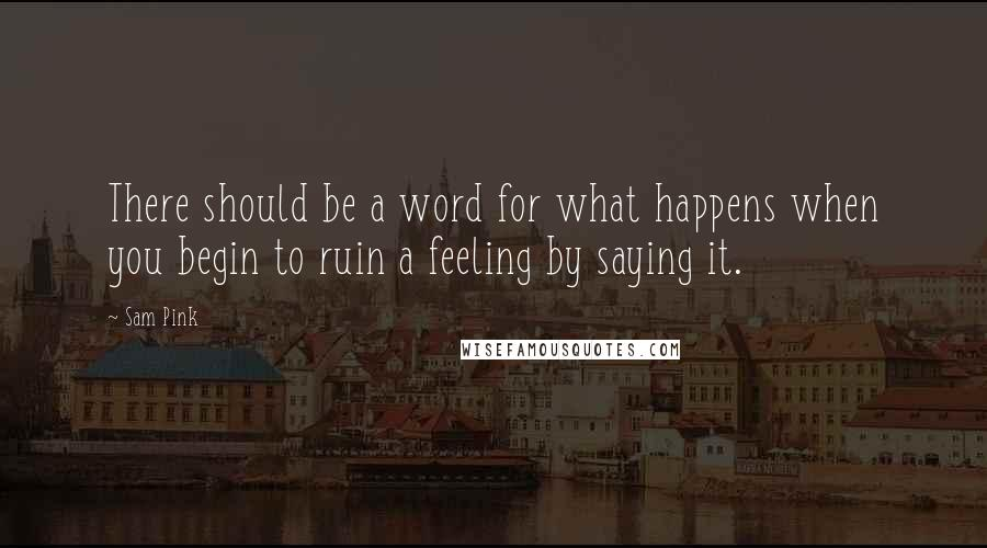 Sam Pink quotes: There should be a word for what happens when you begin to ruin a feeling by saying it.