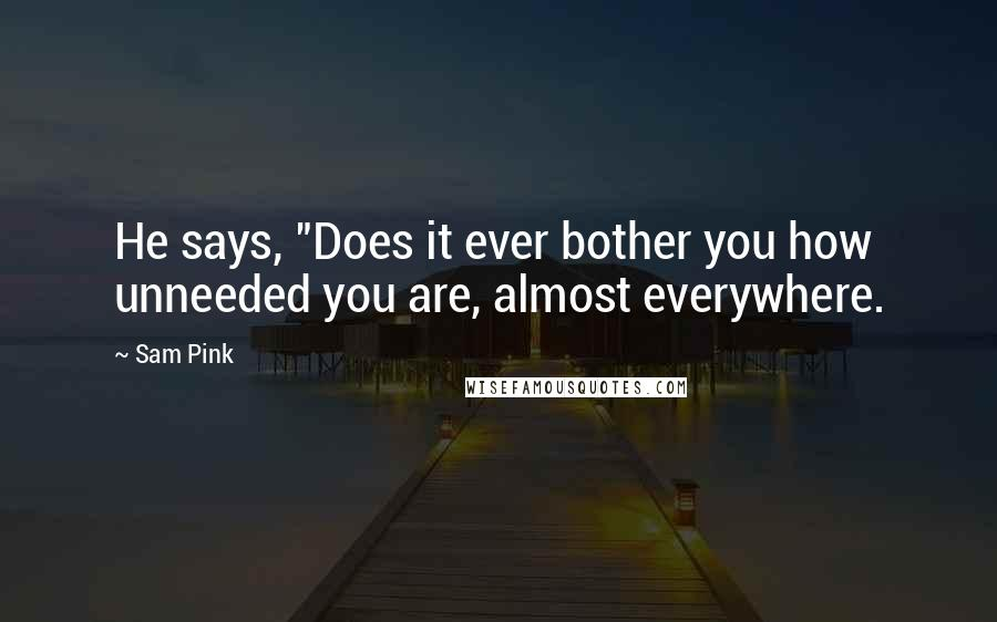 "Sam Pink quotes: He says, ""Does it ever bother you how unneeded you are, almost everywhere."