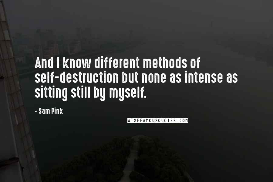 Sam Pink quotes: And I know different methods of self-destruction but none as intense as sitting still by myself.