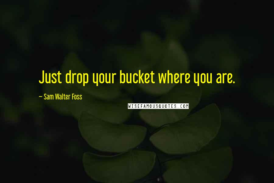 Sam Walter Foss quotes: Just drop your bucket where you are.