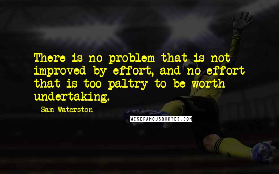 Sam Waterston quotes: There is no problem that is not improved by effort, and no effort that is too paltry to be worth undertaking.
