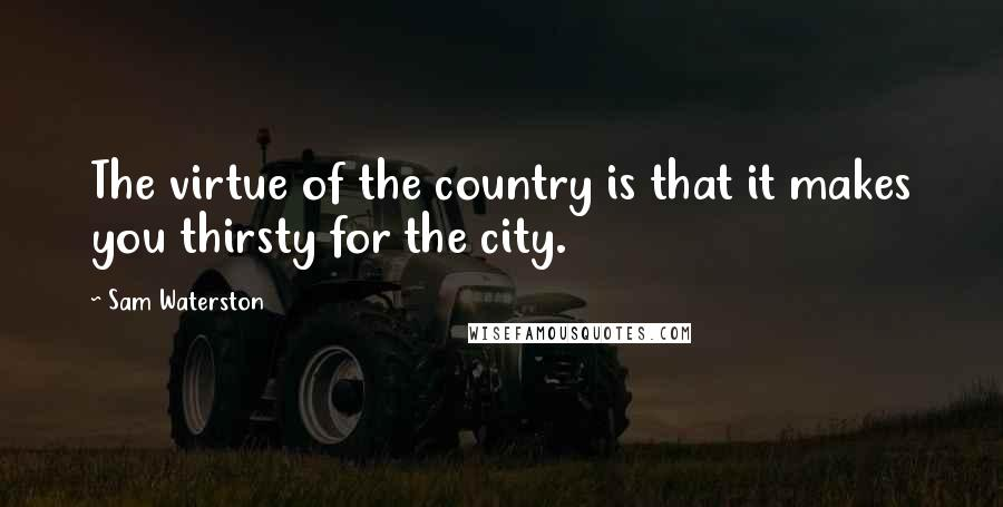 Sam Waterston quotes: The virtue of the country is that it makes you thirsty for the city.
