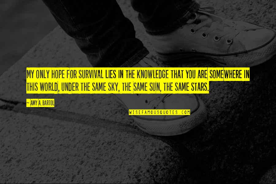 Same Sky Quotes By Amy A. Bartol: My only hope for survival lies in the