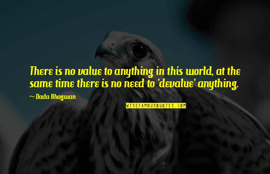 Same Time Quotes By Dada Bhagwan: There is no value to anything in this
