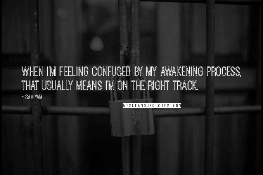 Samiyam quotes: When I'm feeling confused by my awakening process, that usually means I'm on the right track.