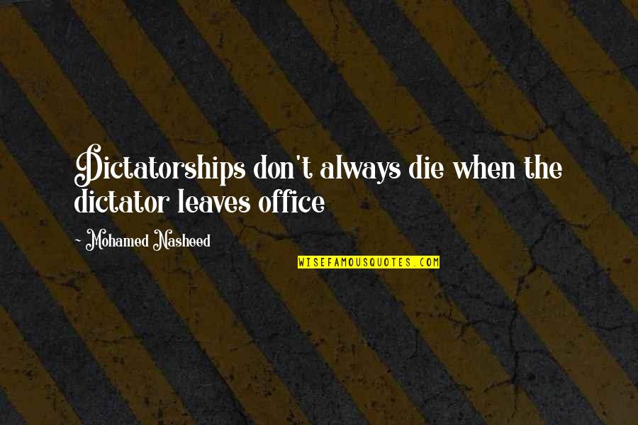 Samuel Adams Anti Federalist Quotes By Mohamed Nasheed: Dictatorships don't always die when the dictator leaves