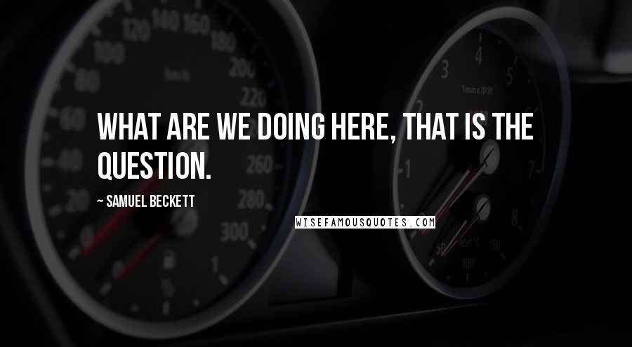 Samuel Beckett quotes: What are we doing here, that is the question.