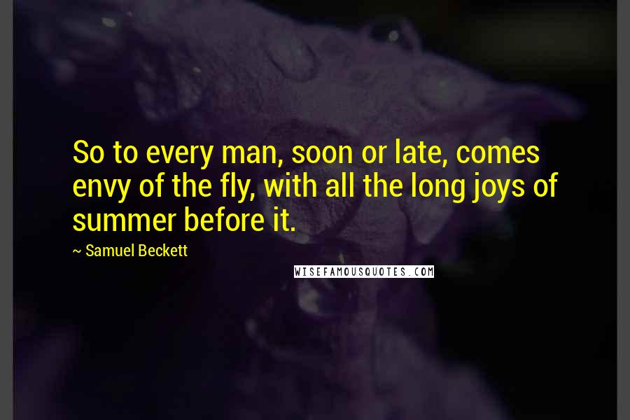 Samuel Beckett quotes: So to every man, soon or late, comes envy of the fly, with all the long joys of summer before it.