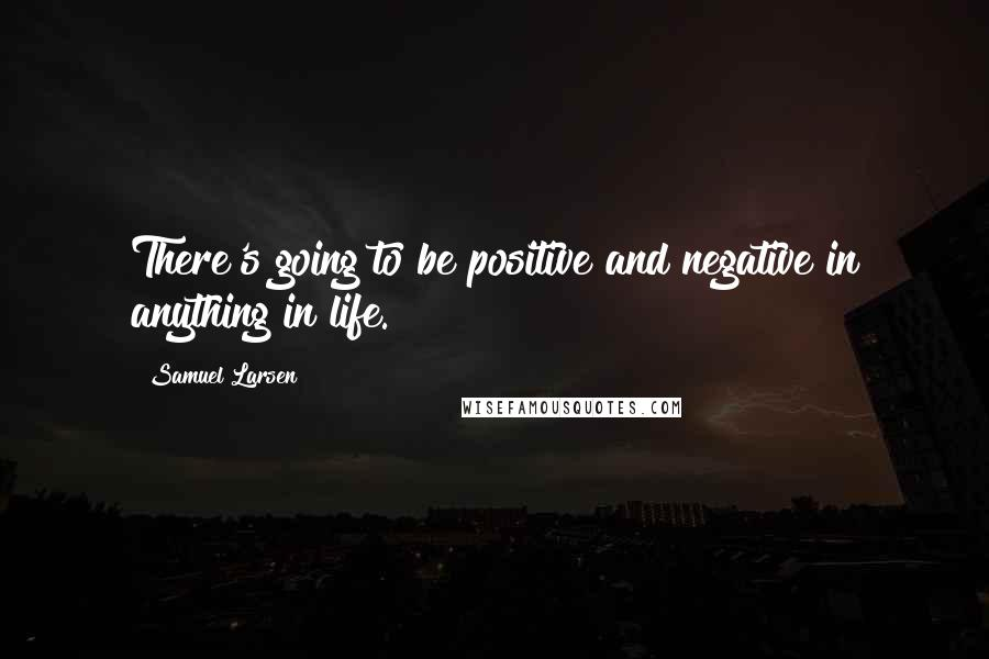 Samuel Larsen quotes: There's going to be positive and negative in anything in life.