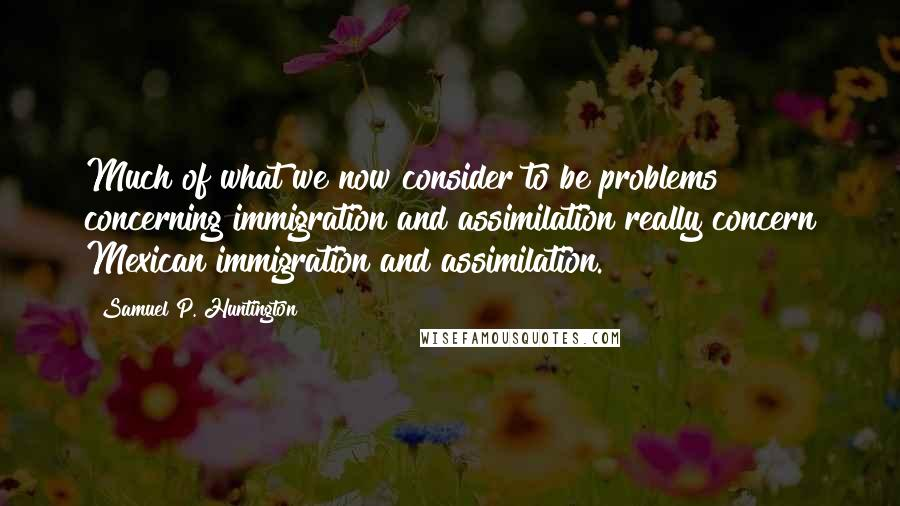 Samuel P. Huntington quotes: Much of what we now consider to be problems concerning immigration and assimilation really concern Mexican immigration and assimilation.