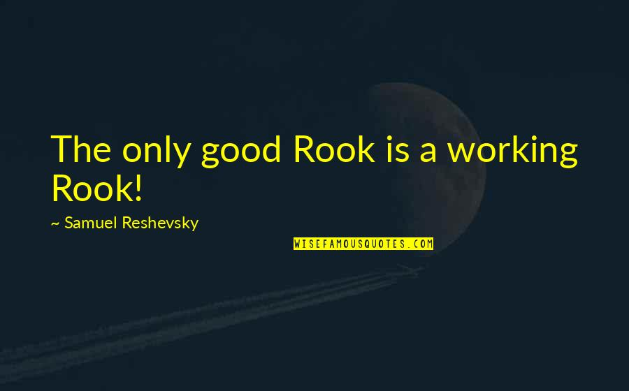 Samuel Reshevsky Quotes By Samuel Reshevsky: The only good Rook is a working Rook!