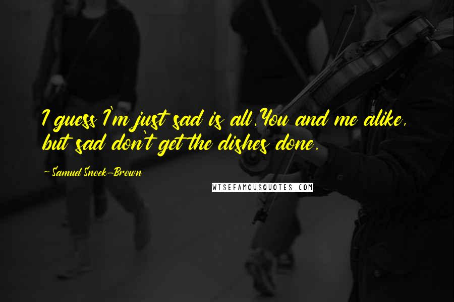 Samuel Snoek-Brown quotes: I guess I'm just sad is all.You and me alike, but sad don't get the dishes done.