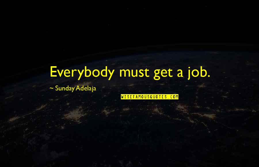 Sand Art Quotes By Sunday Adelaja: Everybody must get a job.
