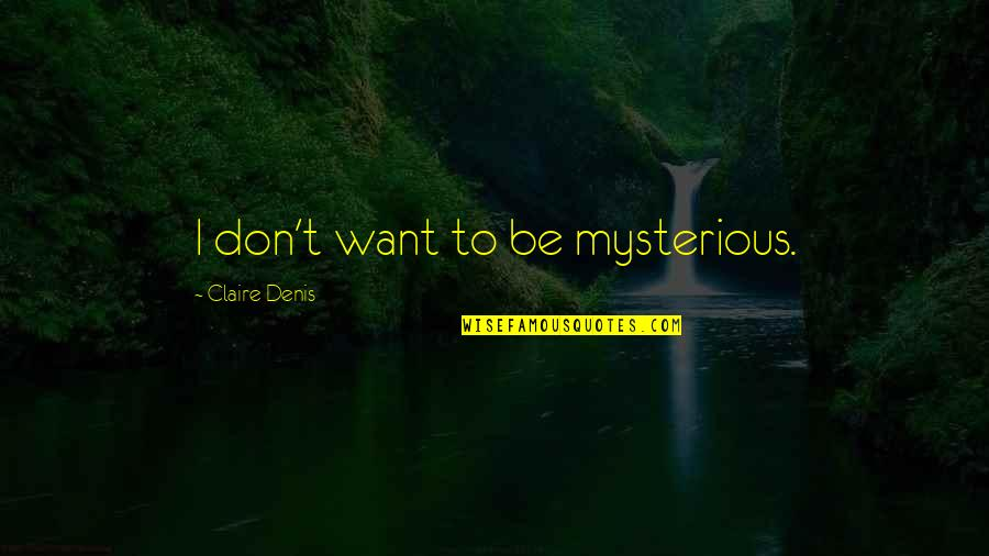 Sandbuilt Quotes By Claire Denis: I don't want to be mysterious.