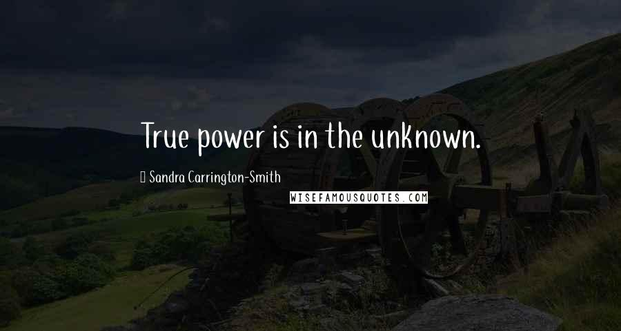 Sandra Carrington-Smith quotes: True power is in the unknown.
