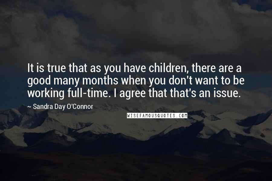 Sandra Day O'Connor quotes: It is true that as you have children, there are a good many months when you don't want to be working full-time. I agree that that's an issue.