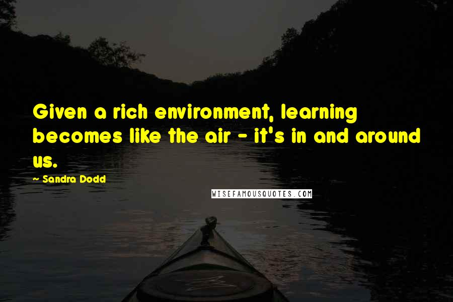 Sandra Dodd quotes: Given a rich environment, learning becomes like the air - it's in and around us.