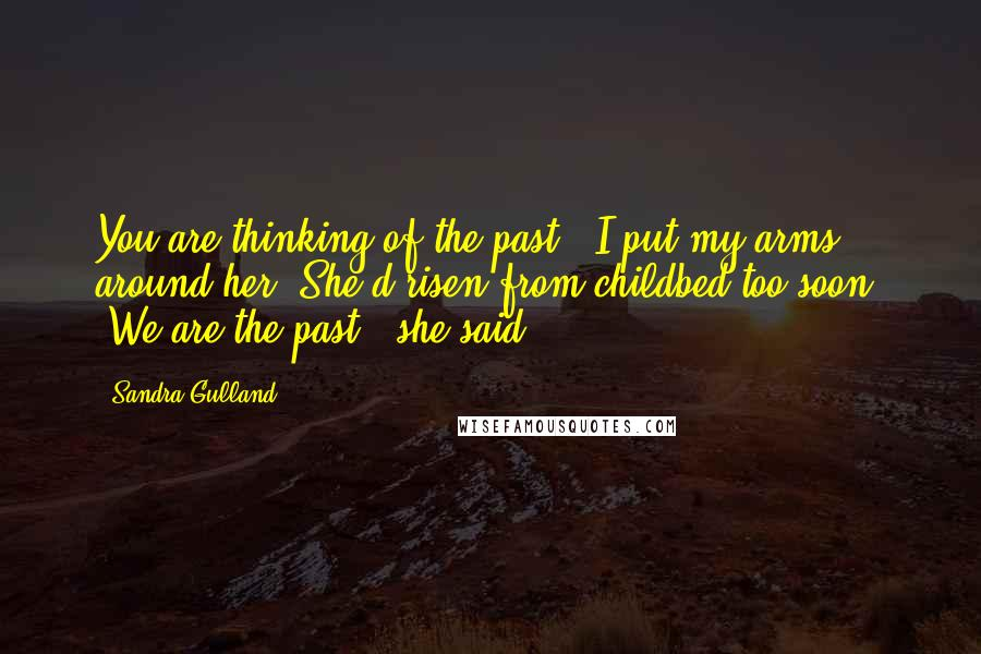"""Sandra Gulland quotes: You are thinking of the past."""" I put my arms around her. She'd risen from childbed too soon. """"We are the past,"""" she said."""
