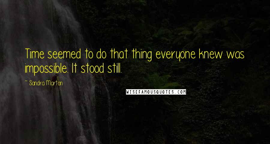 Sandra Marton quotes: Time seemed to do that thing everyone knew was impossible. It stood still.