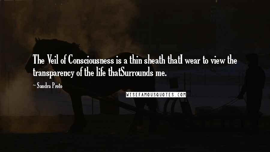 Sandra Proto quotes: The Veil of Consciousness is a thin sheath thatI wear to view the transparency of the life thatSurrounds me.