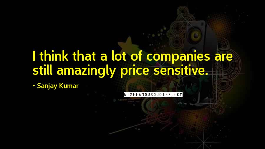 Sanjay Kumar quotes: I think that a lot of companies are still amazingly price sensitive.