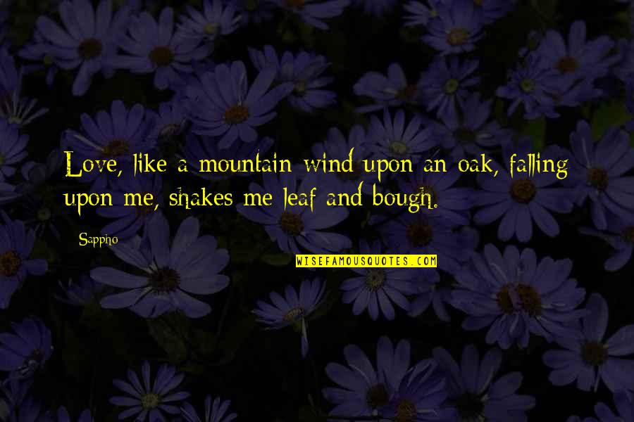 Sappho's Quotes By Sappho: Love, like a mountain-wind upon an oak, falling