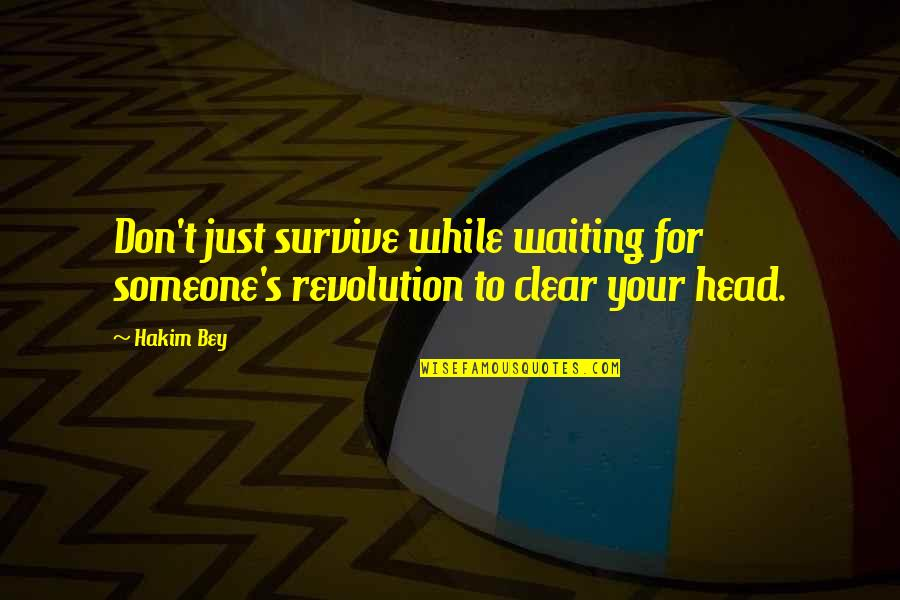 Saps Quotes By Hakim Bey: Don't just survive while waiting for someone's revolution