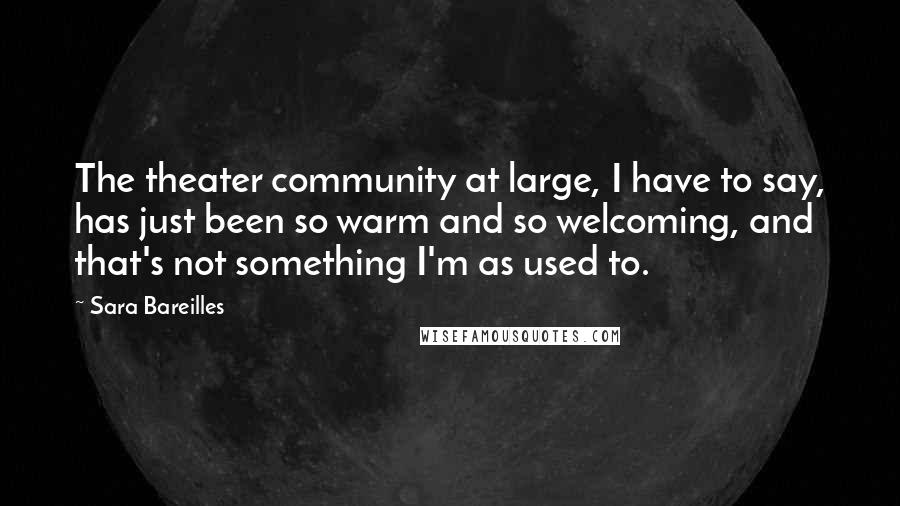 Sara Bareilles quotes: The theater community at large, I have to say, has just been so warm and so welcoming, and that's not something I'm as used to.