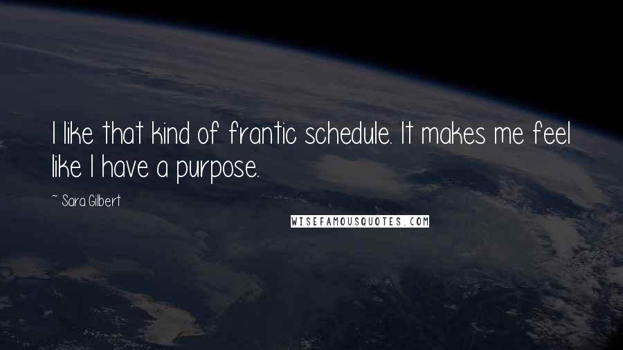 Sara Gilbert quotes: I like that kind of frantic schedule. It makes me feel like I have a purpose.