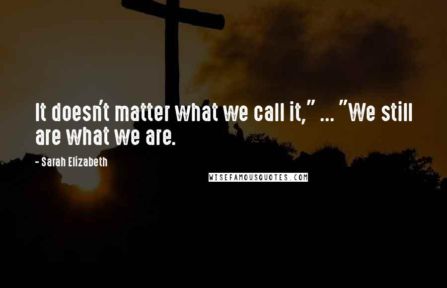 """Sarah Elizabeth quotes: It doesn't matter what we call it,"""" ... """"We still are what we are."""