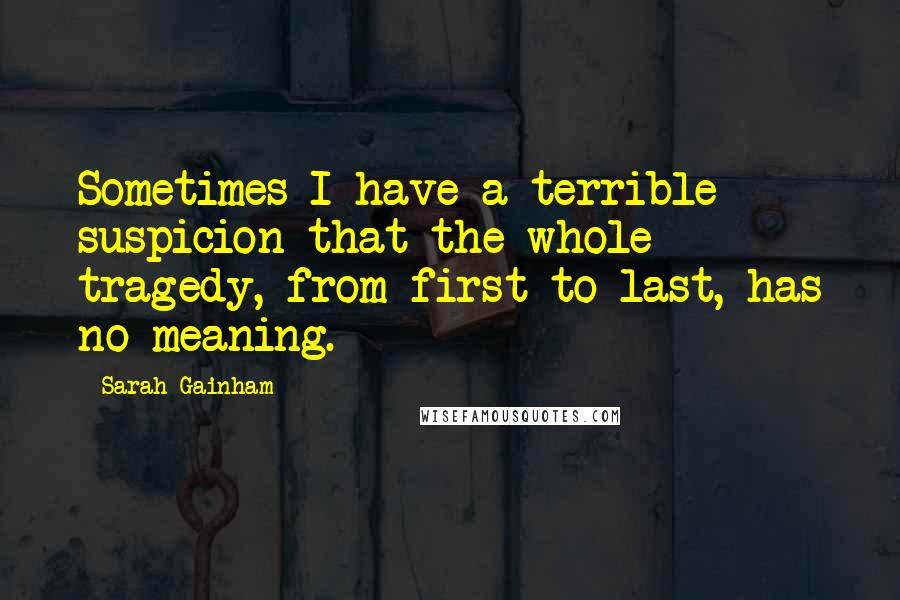 Sarah Gainham quotes: Sometimes I have a terrible suspicion that the whole tragedy, from first to last, has no meaning.