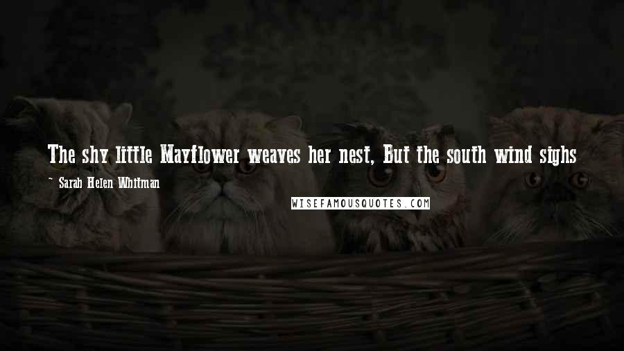 Sarah Helen Whitman quotes: The shy little Mayflower weaves her nest, But the south wind sighs o'er the fragrant loam, And betrays the path to her woodland home.