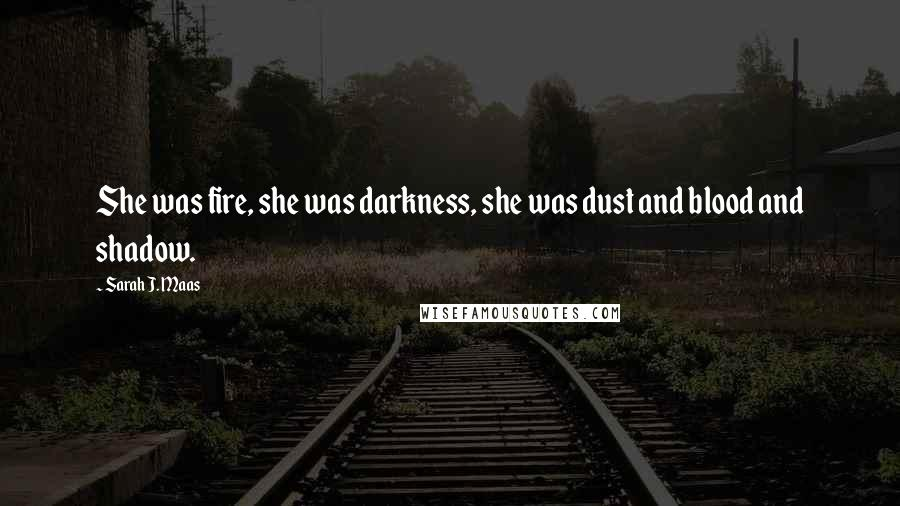 Sarah J. Maas quotes: She was fire, she was darkness, she was dust and blood and shadow.