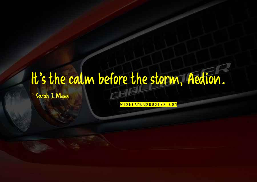 Sarah J Maas Quotes By Sarah J. Maas: It's the calm before the storm, Aedion.