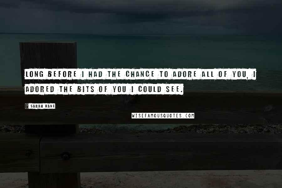 Sarah Kane quotes: Long before I had the chance to adore all of you, I adored the bits of you I could see.