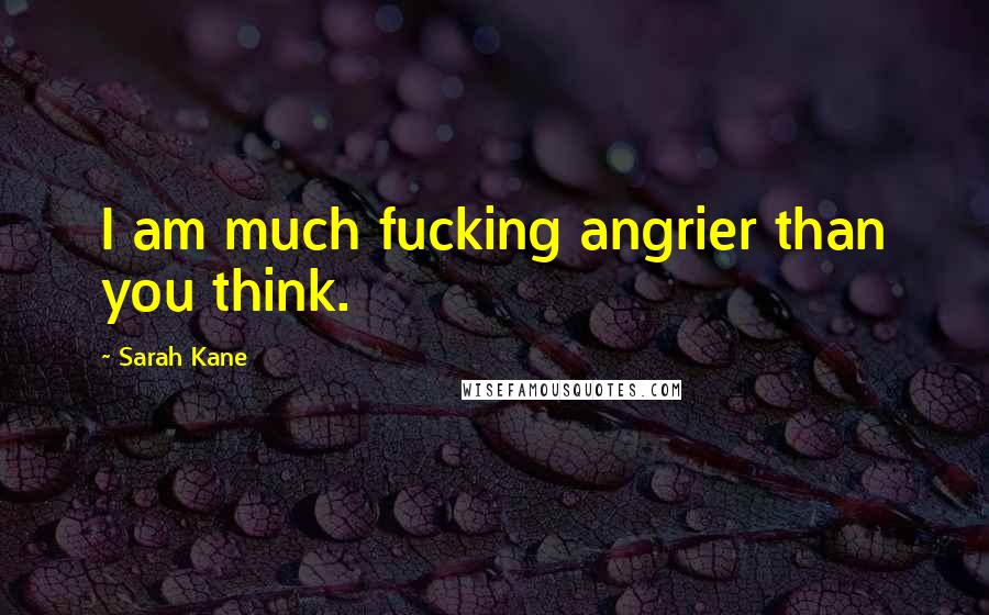 Sarah Kane quotes: I am much fucking angrier than you think.