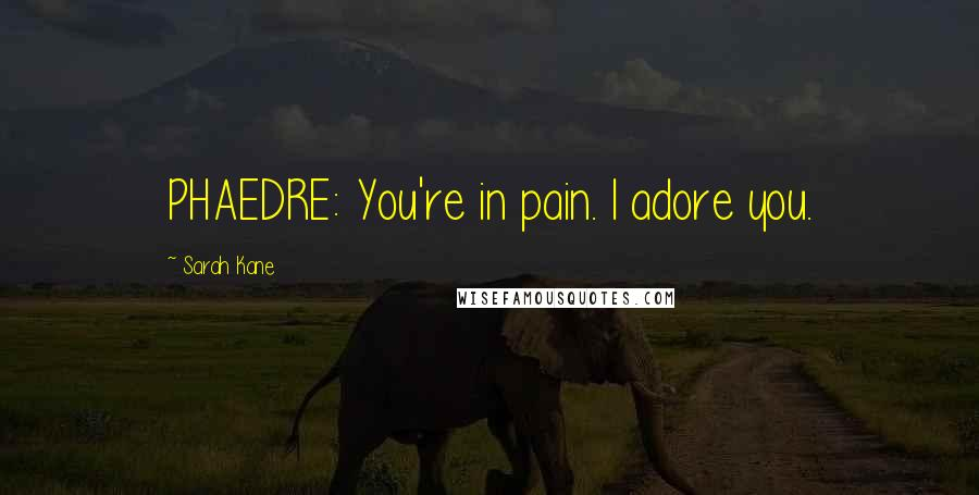Sarah Kane quotes: PHAEDRE: You're in pain. I adore you.