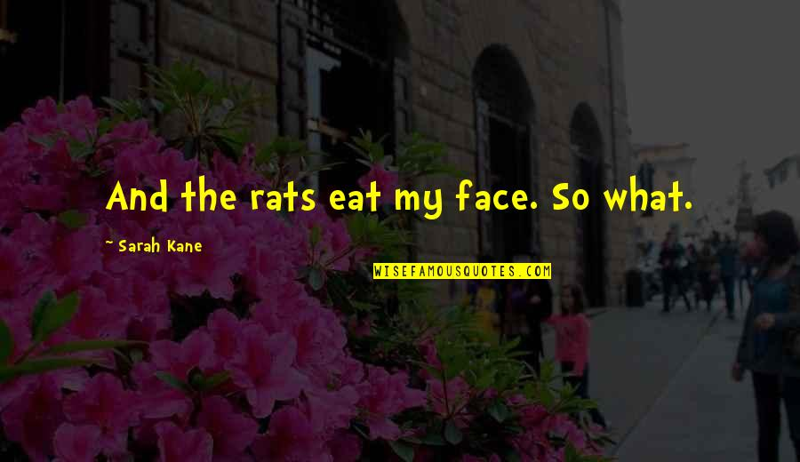 Sarah Kane Quotes By Sarah Kane: And the rats eat my face. So what.