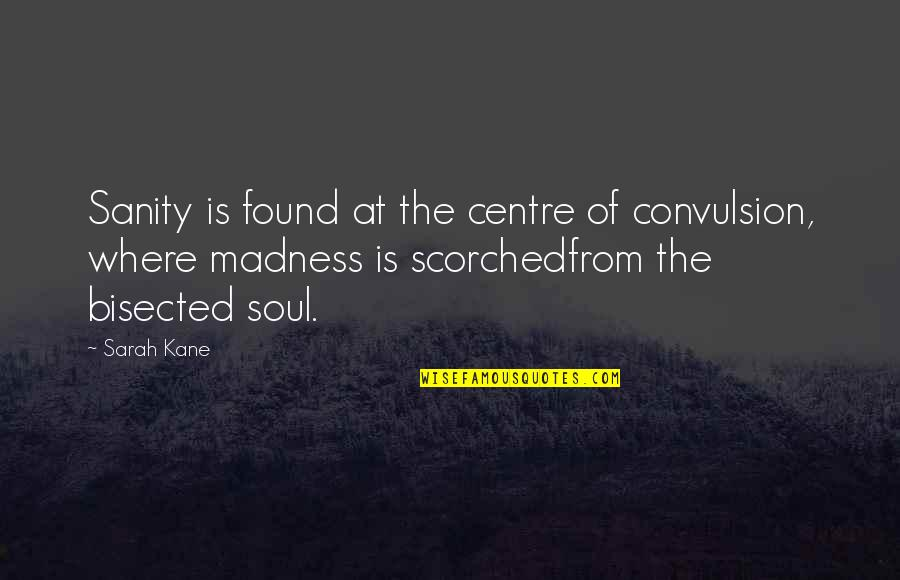 Sarah Kane Quotes By Sarah Kane: Sanity is found at the centre of convulsion,