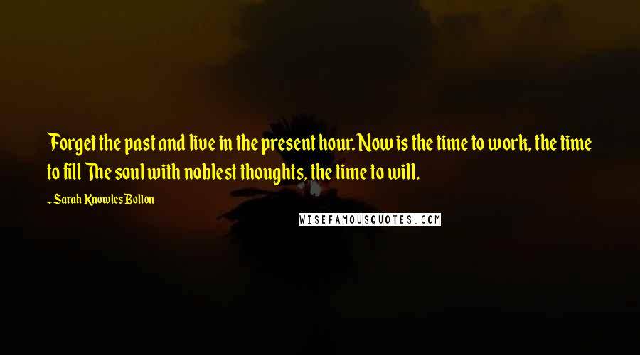 Sarah Knowles Bolton quotes: Forget the past and live in the present hour. Now is the time to work, the time to fill The soul with noblest thoughts, the time to will.