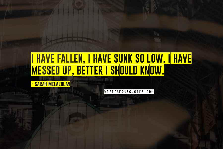 Sarah McLachlan quotes: I have fallen, I have sunk so low. I have messed up, better I should know.