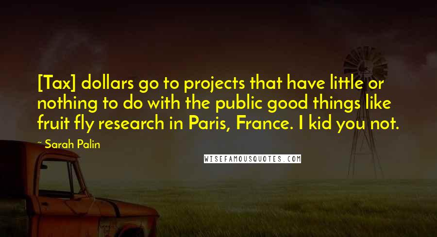 Sarah Palin quotes: [Tax] dollars go to projects that have little or nothing to do with the public good things like fruit fly research in Paris, France. I kid you not.