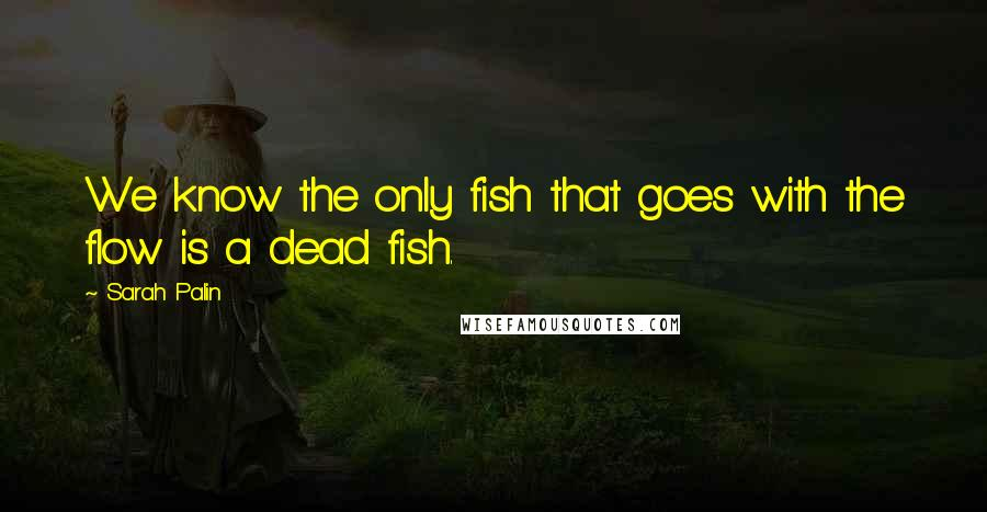 Sarah Palin quotes: We know the only fish that goes with the flow is a dead fish.