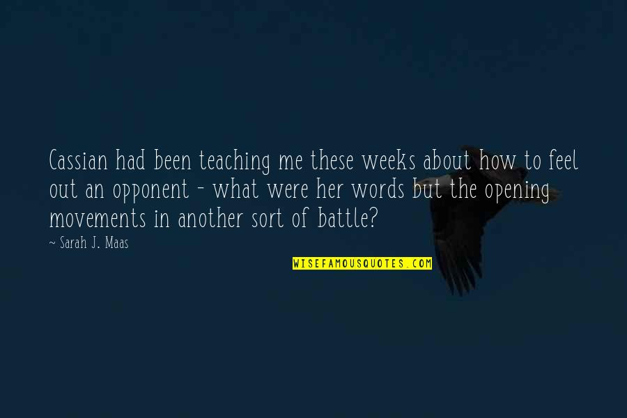 Sarah Weeks Quotes By Sarah J. Maas: Cassian had been teaching me these weeks about